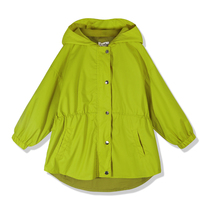Ya Tong small shop yellow-green girls cotton long-sleeved hooded trench coat spring 2019 New childrens clothing jacket