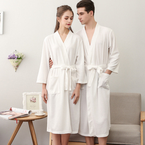 Thin section pajamas women summer Waffle couple robe men absorbent bathrobe plus fat plus size bathrobe 200 pounds