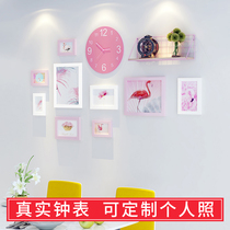 Grid shelf creative photo wall background wall restaurant wall decoration net red bedroom girl Heart photo frame wall