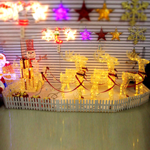 Christmas deer cart luminous deer cart wrought iron deer luminous tower tree Christmas Tree Hotel hall decorations