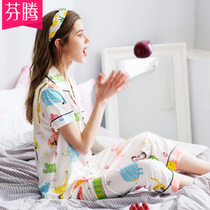 Fentan new spring and summer ladies short-sleeved trousers cotton pajamas set cute cartoon cotton can wear home service
