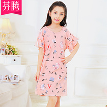 Fentan new girls cotton nightdress summer short-sleeved pajamas in the big girl child princess dress Home Service