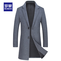 Romon Romon woolen coat male middle-aged plus cotton thick coat in the long section of wool coat warm woolen jacket