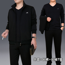 Sports suit male spring and autumn middle-aged three-piece fitness suit leisure running dad loaded large size sportswear male