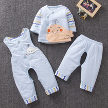 Spring and autumn thin cotton 0-6 months baby cotton three-piece suit baby clothes three-piece suit newborn coat