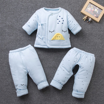 Newborn cotton suits autumn and winter baby clothes three-piece cotton baby cotton jacket Jacket 0-3 months