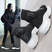 2018 autumn new womens shoes platform shoes sponge cake socks shoes Korean version of the high-top Ulzzang breathable old shoes tide