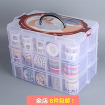 Three thick wear-resistant transparent plastic box accessories box stationery stationery and paper tape box storage box