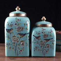 European-style ceramic storage tank with lid pest control simple tea pot large candy jar American creative ornaments