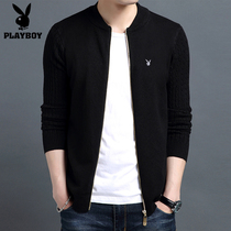 Playboy spring new cardigan mens collar sweater Korean slim coat youth trend mens sweater