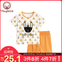 Youbei Yi children short-sleeved home service cartoon models boys and girls summer thin air conditioning baby cotton pajamas