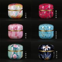 The new creative Japanese mini small tea cans carry-sealed portable travel flower tea box iron box.