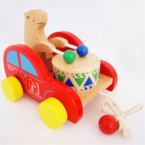 Childrens toys wooden 1-3 years old infant drag drum baby early education puzzle wood