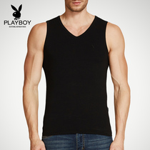Playboy mens vest cotton breathable summer V-neck wide shoulder tight sports fitness bottoming shirt hurdle