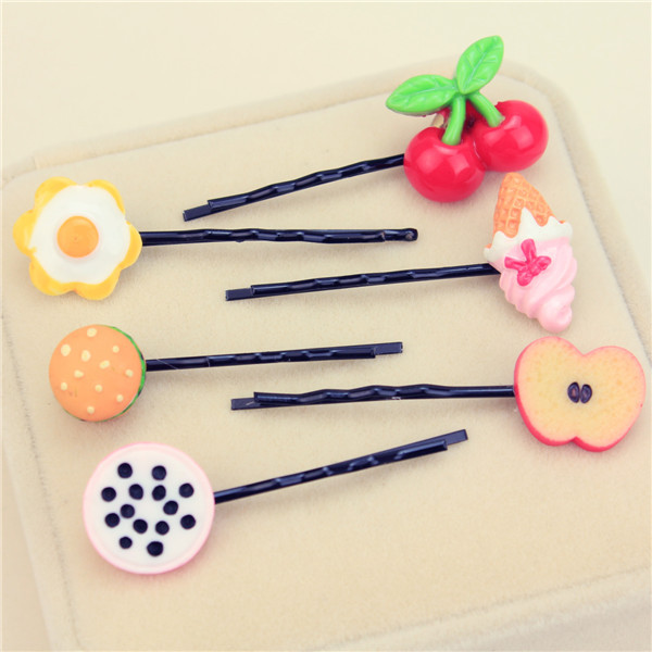 Korean fruit side clip card cute soft sister hairpin candy hair ornament watermelon lemon strawberry word clip tiara.