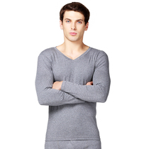 V-neck mens spring and autumn thin section qiuyi qiuku basic underwear thermal underwear set mens underwear modal