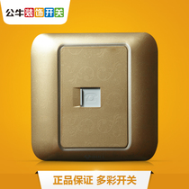 Bull telephone line socket wall telephone switch socket 86 type Champagne Gold telephone socket panel G10S6