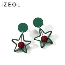 ZENGLIU Korean temperament five-pointed star earrings long female earrings star models short paragraph earrings earrings