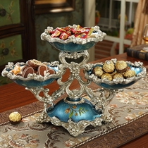 European-style luxury fruit plate multi-layer dried fruit plate living room modern home multi-functional double-layer snack candy tray creative