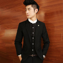New spring hair stylist slim small Suit Jacket Men Korean version of the black casual small suit tide tie