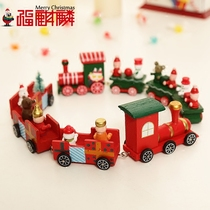 Christmas decorations childrens Christmas gifts Christmas wooden small train Christmas tabletop decorations.