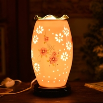 Ceramic bedroom night light aroma lamp plug electric oil lamp hollow dimming incense burner dimming night light to send essential oils
