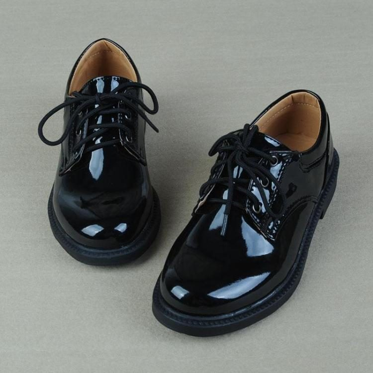 Small black leather shoes boys schoolboy baby autumn and winter English wind band in the child matching suit bright face