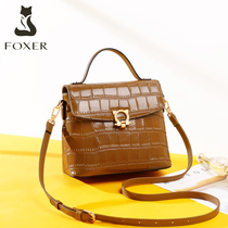 Gold Fox leather handbags new 2019 fashion portable crocodile pattern autumn and winter shoulder texture Ms. messenger bag