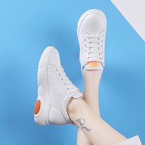 Increased white shoes women 2019 autumn explosion models thick bottom slope with thin leather wild sports shoes casual shoes