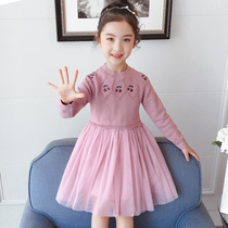 Girls sweater skirt 2019 new autumn and winter children's knitted mesh wind princess dress children's dress