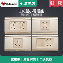 Bull one open three-hole 16a air conditioning switch socket Golden Trumpet six-hole plug sitting blank panel brushed gold