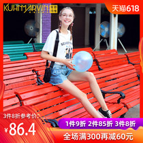 Net red hole denim shorts female tide high waist loose 2019 new design sense of irregular stitching hot pants summer