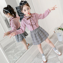 Girls spring 2020 new suit Western fashion dress two sets spring and autumn 3 Big children 8 years old 12 tide