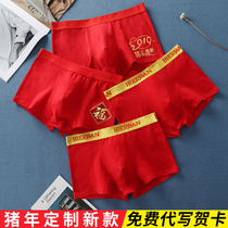 Pig year life New Year underwear male boxer pants big red is a pig cotton boxer youth wedding shorts gift