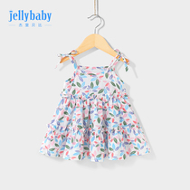 Girls skirt summer thin section 1-6 years old female baby beach skirt summer baby cotton dress 3 children's harness skirt