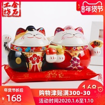 Stone workshop candy cans lucky cat storage festive ornaments couple cat cornucopia creative gifts