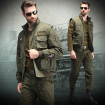 Outdoor sports men's camouflage army fan jacket suit cotton wear-resistant tooling tactical training clothes to send belt