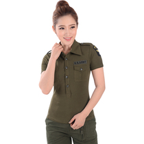 Military wild line outdoor sports Army fans t-shirt female summer training suit Marine dance camouflage suit slim stretch T-shirt