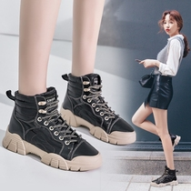 Winter Martin boots female British wind 2019 new wild boots boots boots snow boots cotton shoes down cloth real leather