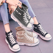 Sneakers womens 2019 new tide shoes autumn model hundred autumn winter leisure black daddy high help small white autumn shoes