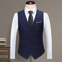 New casual suit vest men's Korean fashion tooling plaid small suits men's slim vest waistcoat