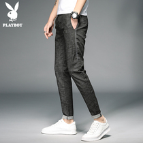 Playboy summer thin jeans male slim feet pants Korean men's stretch pants men's trend black
