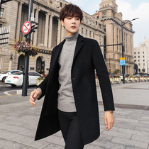 Men's double-sided cashmere coat in the long yayu youth autumn and winter Nizi thick windbreaker wool coat