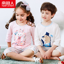 Antarctic cotton childrens clothing summer childrens childrens short-sleeved suit boys and girls baby sports seven sets