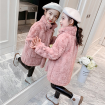 Girls woolen coat winter 2019 new foreign air autumn and Winter Tide children's fur coat long section Mink wool coat
