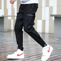 Spring and autumn pants mens sports and leisure Korean version of the trend of brand slim feet ins nine division pants pants feet trousers