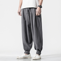 Chinese style mens pants thin section linen casual pants loose straight beam feet Lantern pants cotton linen trousers linen pants summer