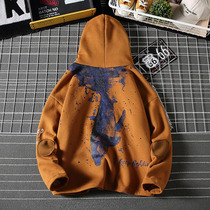 Tide brand Country tide printing hooded sweater male Japanese Harajuku trend boys coat loose large size coat autumn