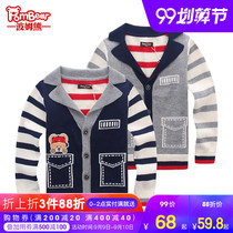 Bom bear childrens clothing 2019 autumn new Korean cotton striped knit cardigan jacket boy sweater children