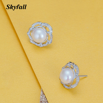 Skyfall natural large pearl inlay zircon sterling silver earrings s925 flower earrings women fashion luxury